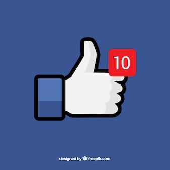 Fondo de pulgar arriba de facebook con notificación