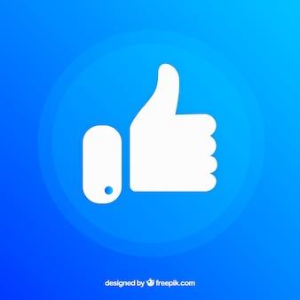 Fondo de pulgar arriba de me gusta de facebook en colores degradados