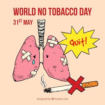 Fondo de pulmones y cigarro dibujados a mano