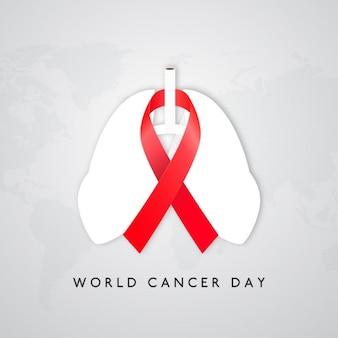 Fondo con pulmones y una cinta para el día mundial del cancer