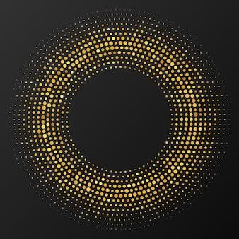 Fondo punteado de semitono que brilla intensamente del oro abstracto. patrón de brillo dorado en forma de círculo. círculo de puntos de semitono. ilustración vectorial