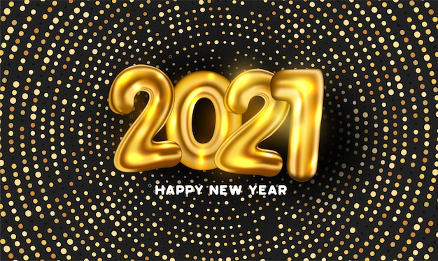 Fondo de puntos abstractos con 2021 números de globo dorado 3d