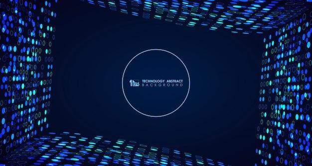 Fondo de puntos de círculo de tecnología azul amplia abstracta