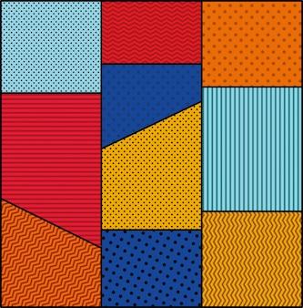 Fondo de puntos y colores vector de estilo de arte pop