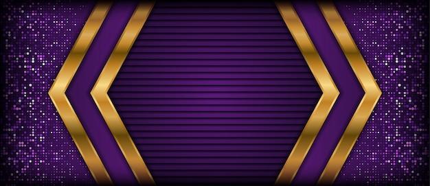 Fondo púrpura abstracto con capas de superposición doradas