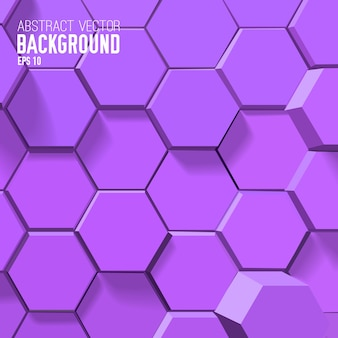 Fondo púrpura abstracto con hexágonos geométricos