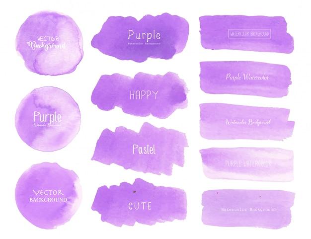 Fondo púrpura de la acuarela, logotipo en colores pastel de la acuarela, ejemplo del vector.