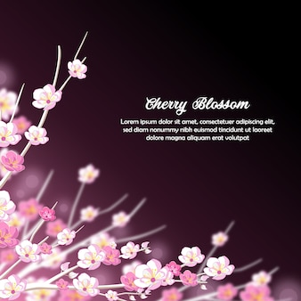 Fondo púrpura y blanco soñador de la invitación de cherry blossom