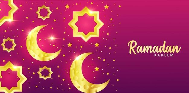 Fondo púrpura sobre celebraciones que dan la bienvenida al mes sagrado del ramadán.