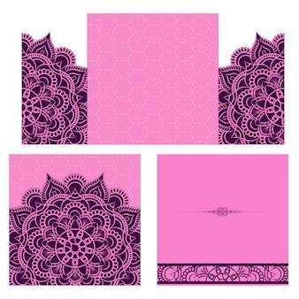 Fondo púrpura de la tarjeta de boda