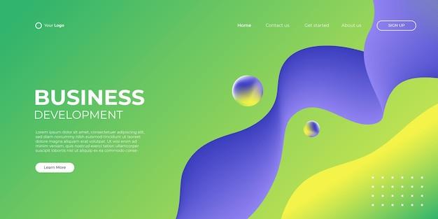 Fondo púrpura verde abstracto para la página de inicio de negocios con forma moderna y concepto de tecnología simple. plantilla de ilustración de vector de bloque de página de destino de diseño web corporativo.