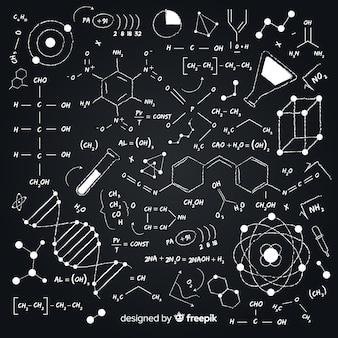 Fondo de química dibujado a mano en pizarra