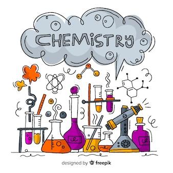 Fondo de química dibujado a mano