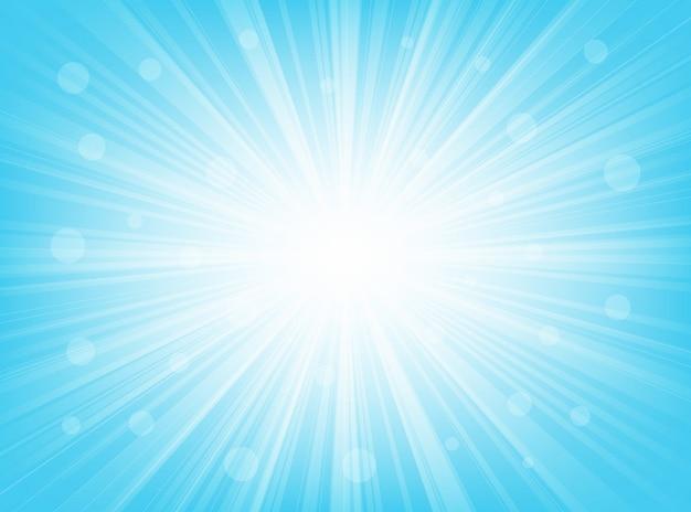 Fondo radial abstracto azul claro del resplandor solar
