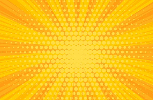 Fondo radial del libro de cómics amarillos del arte pop