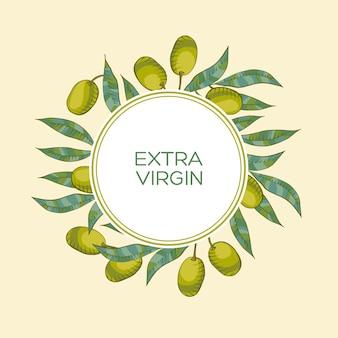 Fondo con rama de olivo y aceituna verde.