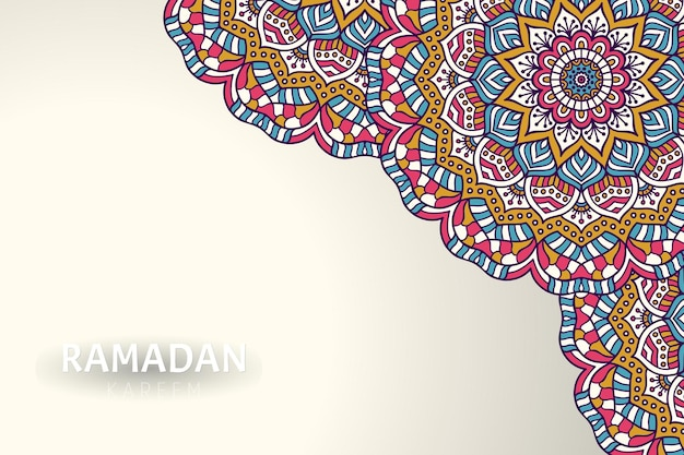 Fondo de ramadam kareem con adornos de mandala