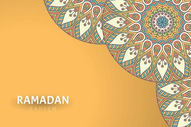 Fondo de ramadam kareem con adornos de mandala vector gratuito