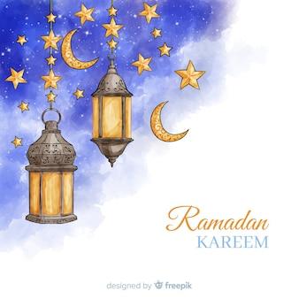 Fondo de ramadán de acuarela