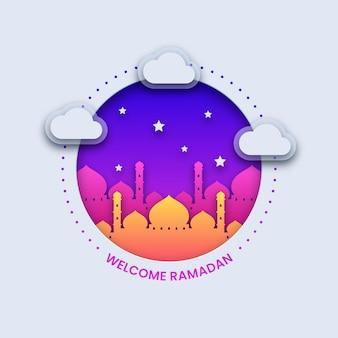 Fondo de ramadán de bienvenida