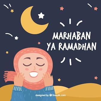 Fondo de ramadán con chica rezando