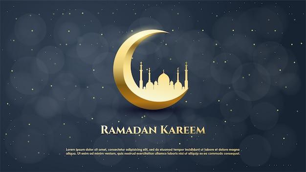 Fondo de ramadán con la ilustración de la luna y la mezquita en oro lujoso.