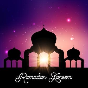 Fondo de ramadán kareem con el cielo nocturno de la silueta de la mezquita