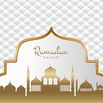 Fondo de ramadán kareem decorativo dorado y blanco