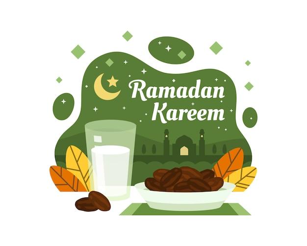 Fondo de ramadán kareem con fechas e ilustración de leche