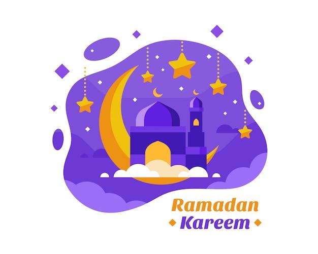 Fondo de ramadán kareem con ilustración de media luna y mezquita