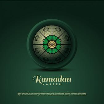 Fondo de ramadan kareem con ilustraciones de adornos de techo verde 3d
