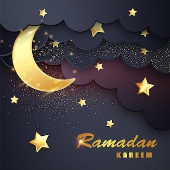 Fondo de ramadán kareem con luna, estrellas.