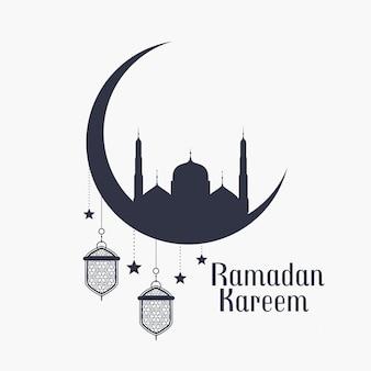 Fondo de ramadán kareem con mezquita y lámparas.