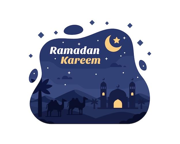 Fondo de ramadán kareem con silueta de camello y mezquita en el desierto