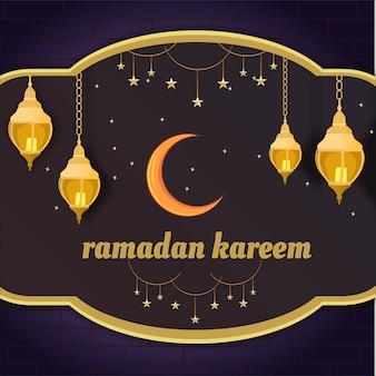 Fondo de ramadán con lámparas y adornos.