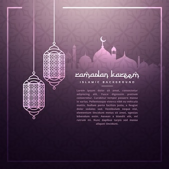 Fondo de ramadan con lámparas colgantes