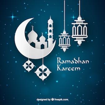 Fondo de ramadán con lámparas y ornamentos
