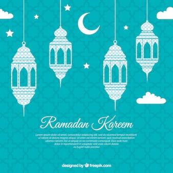 Fondo de ramadán con lámparas planas