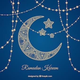 Fondo de ramadán con luna y estrellas doradas
