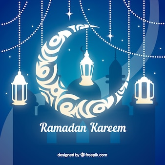 Fondo de ramadán con luna y lámparas