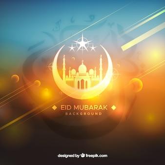 Fondo de ramadán con mezquita en estilo desenfocado