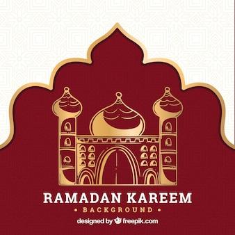 Fondo de ramadán con mezquita en estilo hecho a mano