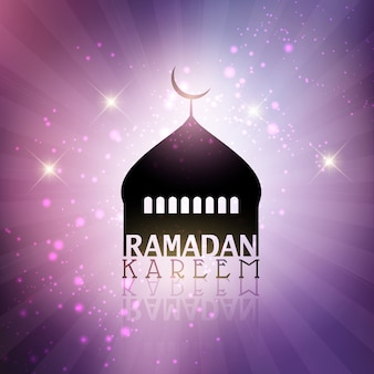 Fondo de ramadán con silueta de una mezquita