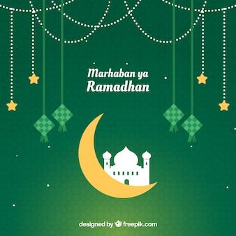 Fondo de ramadán con silueta de mezquita