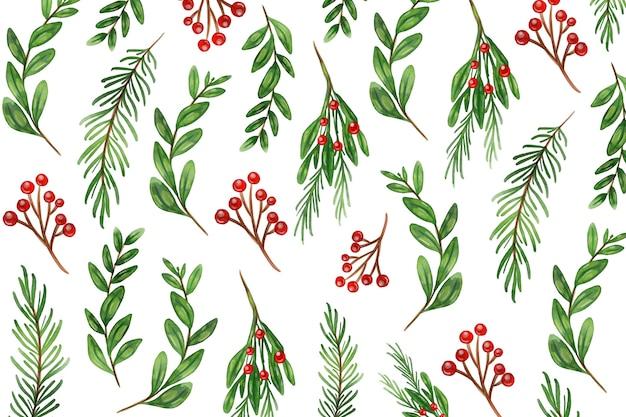 Fondo de ramas de árbol de navidad acuarela