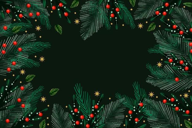 Fondo de ramas de árbol de navidad en acuarela