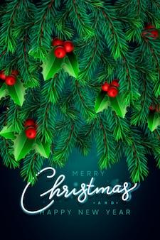 Fondo con ramas de árbol de navidad de aspecto realista y bayas de acebo rojo,