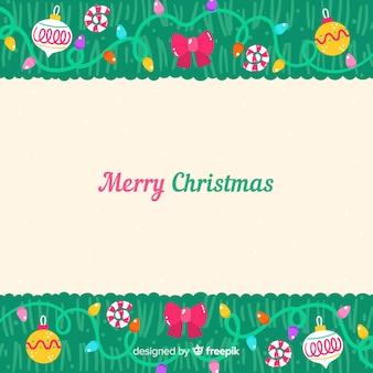 Fondo de ramas de árbol de navidad dibujadas a mano