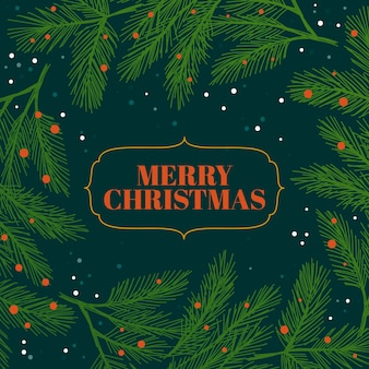 Fondo de ramas de árbol de navidad dibujado a mano
