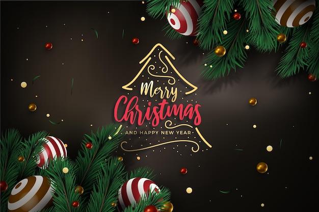 Fondo de ramas de árbol de navidad realista